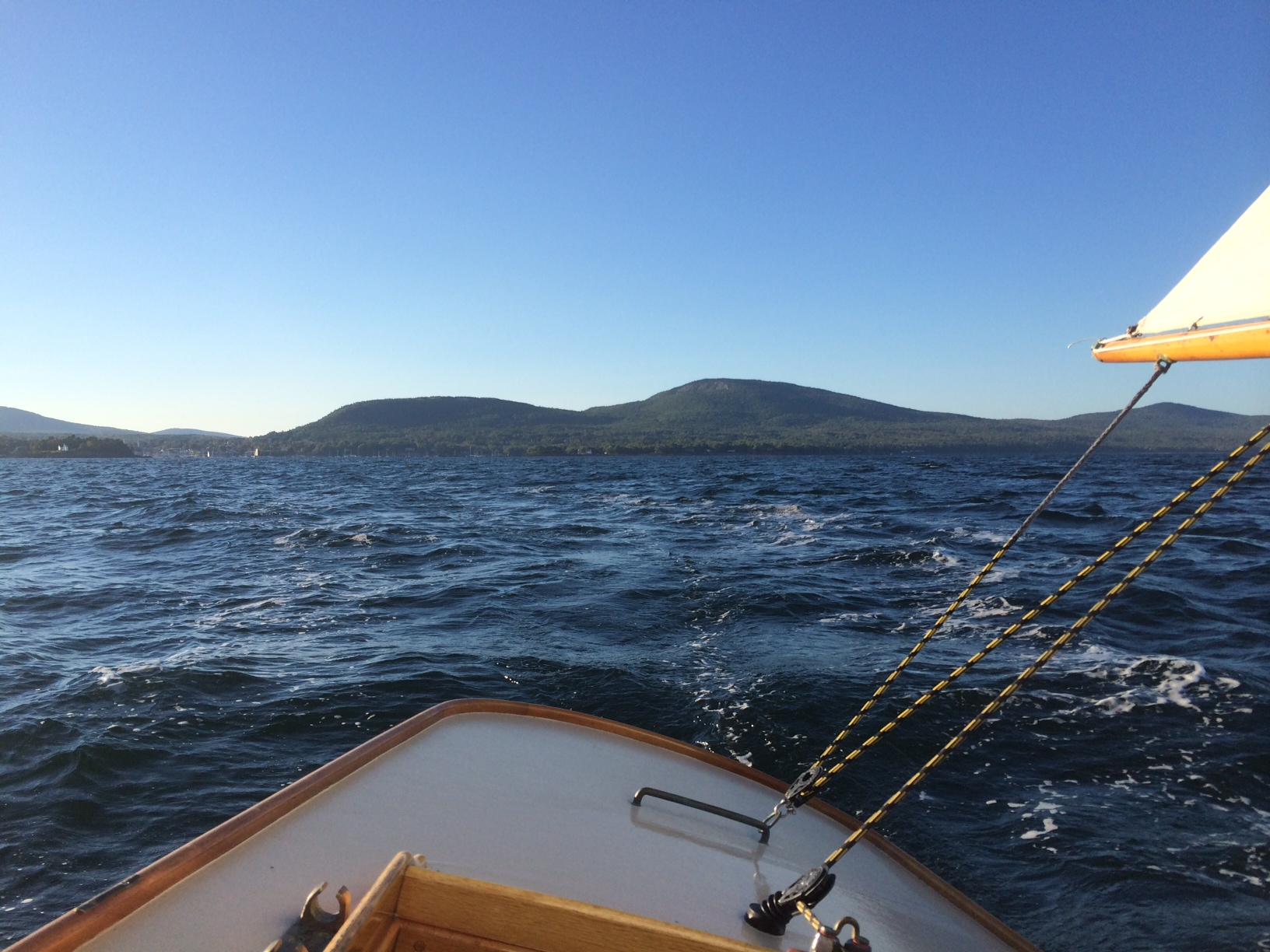Leaving the Camden Hills behind as Frolic and I sail in Penobscot Bay