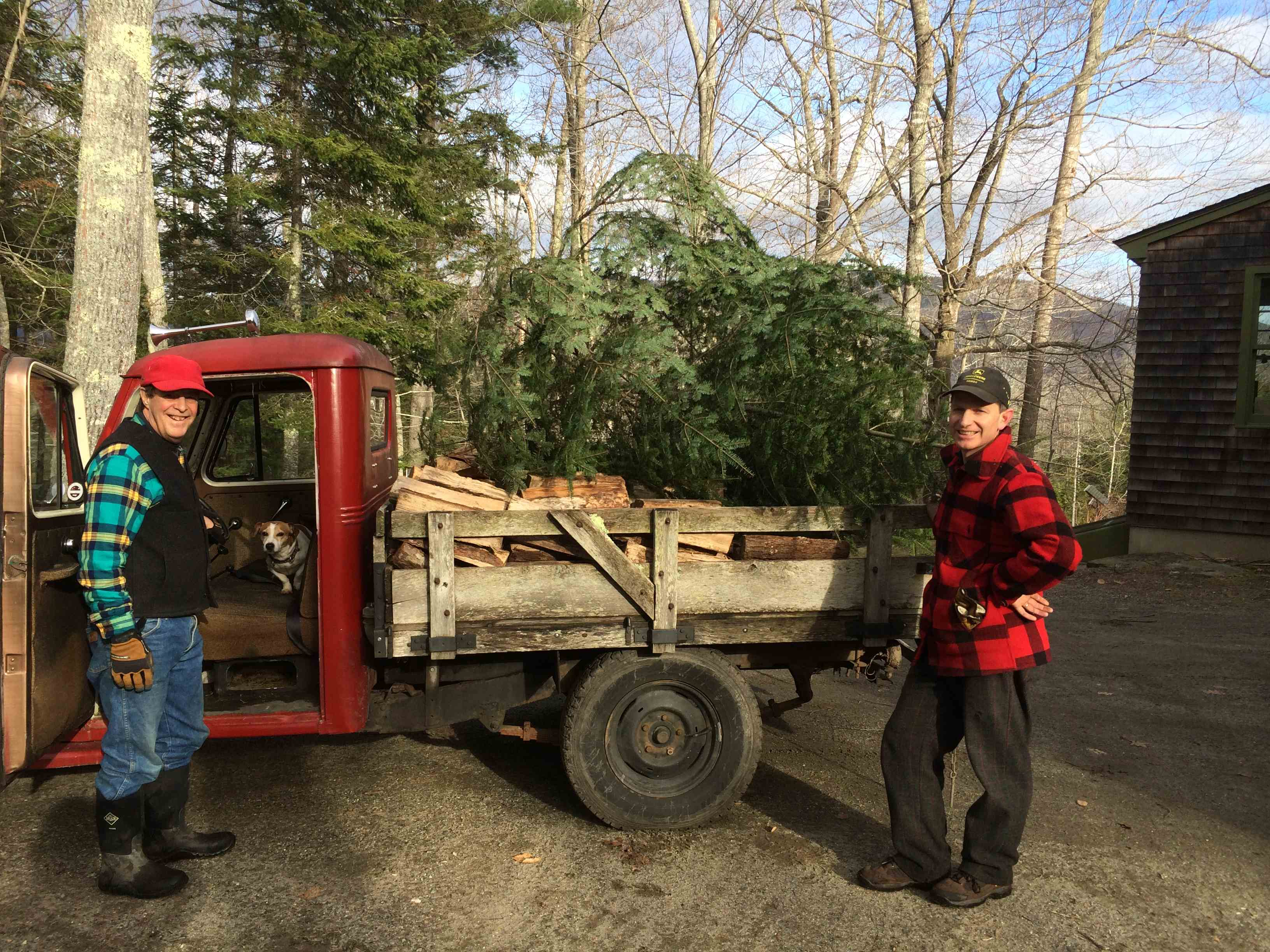 John Hanson and Jon Crane load the tree onto the truck for delivery.
